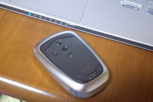 Logicool Ultrathin Touch Mouse T630の裏側