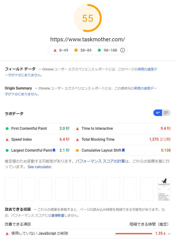 ページスピードインサイトの改善開始1日目(トップページ)