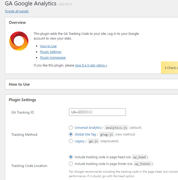 プラグイン「GA Google anatytics」の設定画面