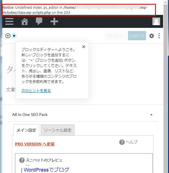 WP5.2.1でもデバッグONで警告メッセージが表示されている